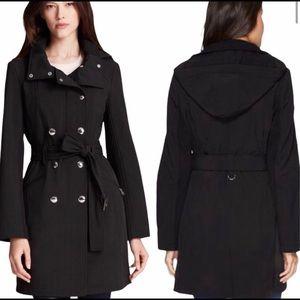 CALVIN KLEIN water resistant black trench coat   M